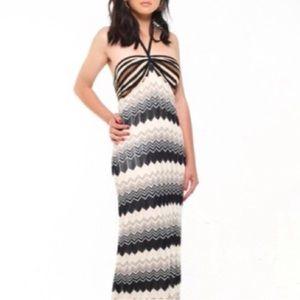 Trina Turk Silk Woven Print Halter Maxi Dress